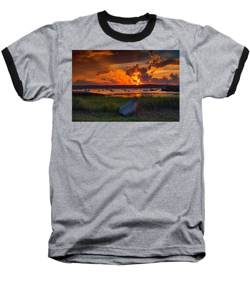 Gloucester Harbor Sunset Baseball T-Shirt