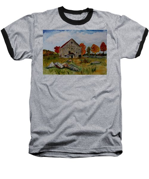 Baseball T-Shirt featuring the painting Glover Barn In Autumn by Donna Walsh
