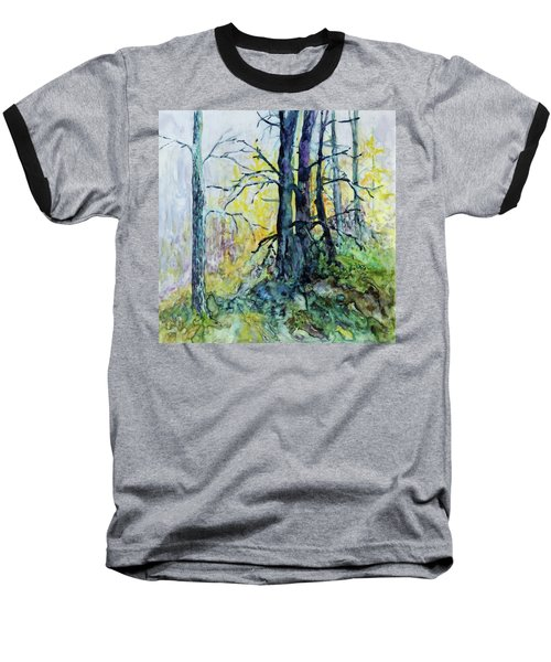 Baseball T-Shirt featuring the painting Glow From The Tamarack by Joanne Smoley
