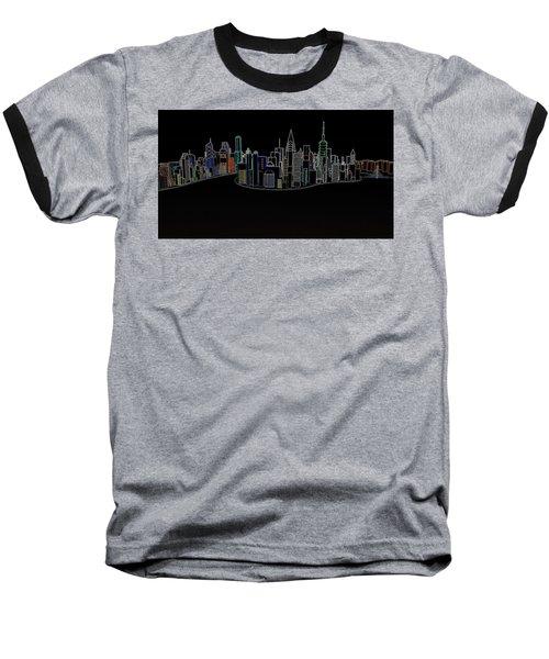 Glowing City Baseball T-Shirt