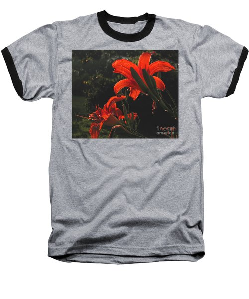 Baseball T-Shirt featuring the photograph Glowing Day Lilies by Donna Brown