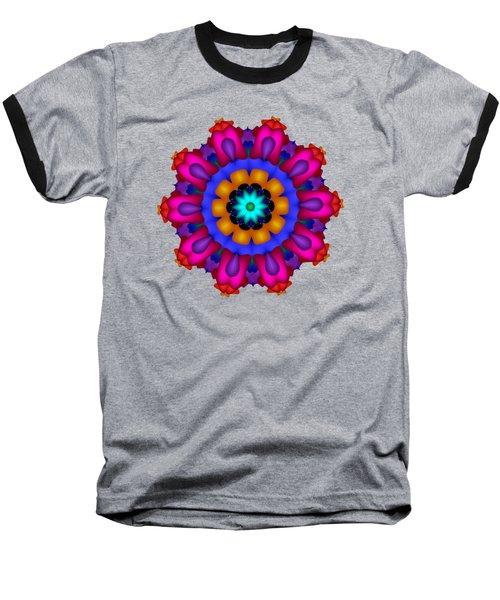 Glowing Fractal Flower Baseball T-Shirt