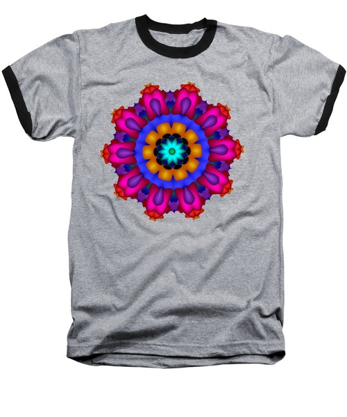 Glowing Fractal Flower Baseball T-Shirt