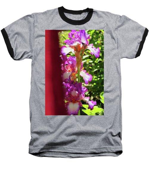 Glowing Iris Tower - Behind The Red Curtain Baseball T-Shirt by Brooks Garten Hauschild