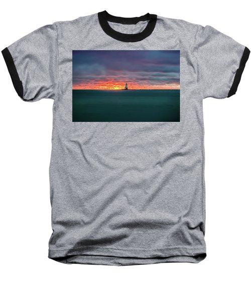 Glowing Sunset On Lake With Lighthouse Baseball T-Shirt