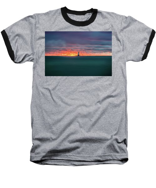 Glowing Sunset On Lake With Lighthouse Baseball T-Shirt