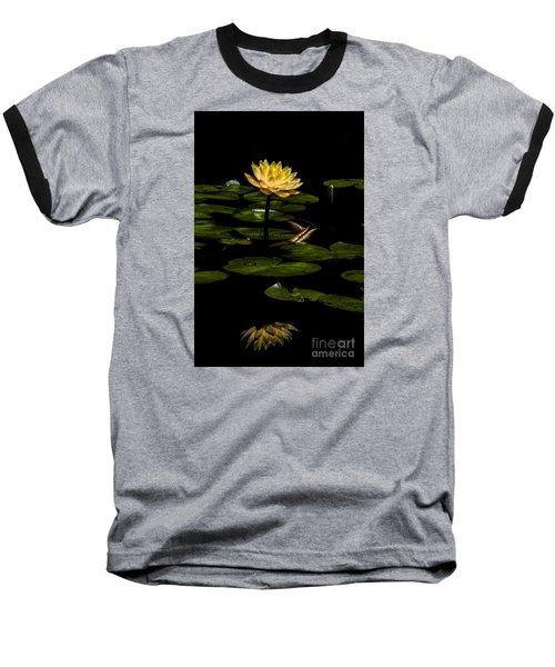 Glowing Waterlily Baseball T-Shirt by Barbara Bowen