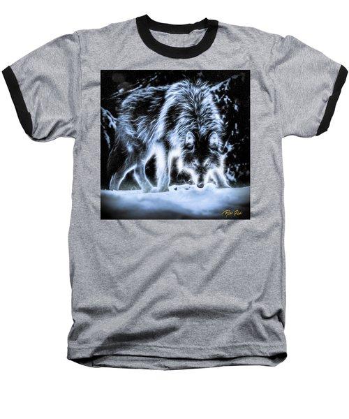 Glowing Wolf In The Gloom Baseball T-Shirt
