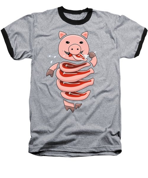 Gluttonous Self-eating Pig Baseball T-Shirt