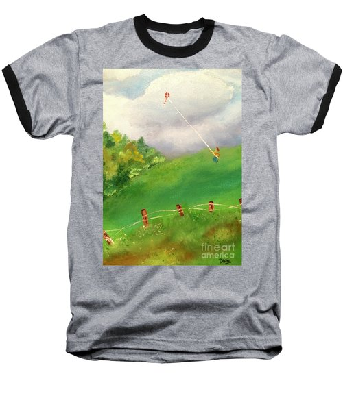 Baseball T-Shirt featuring the painting Go Fly A Kite by Denise Tomasura