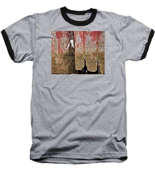 Goat And Old Barn Door Baseball T-Shirt by Susan Leggett