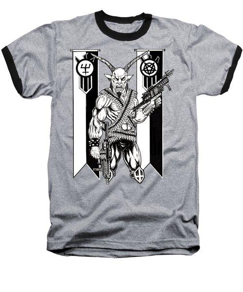 Goat War Black Baseball T-Shirt by Alaric Barca