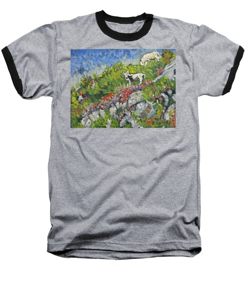 Baseball T-Shirt featuring the painting Goats On Hill by Michael Daniels