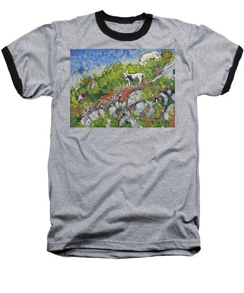 Goats On Hill Baseball T-Shirt