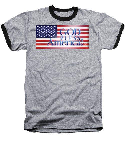 Baseball T-Shirt featuring the mixed media God Bless America by Shevon Johnson