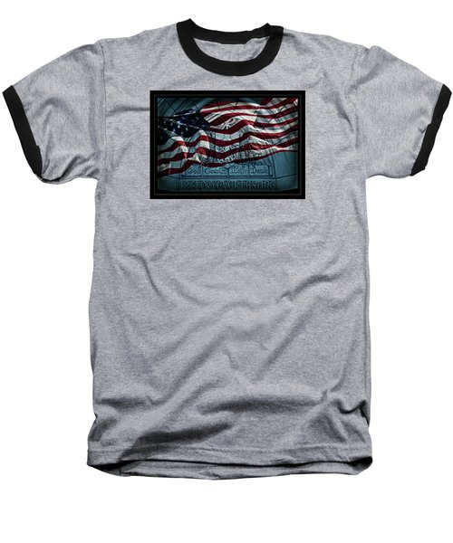 God Country Notre Dame American Flag Baseball T-Shirt by John Stephens