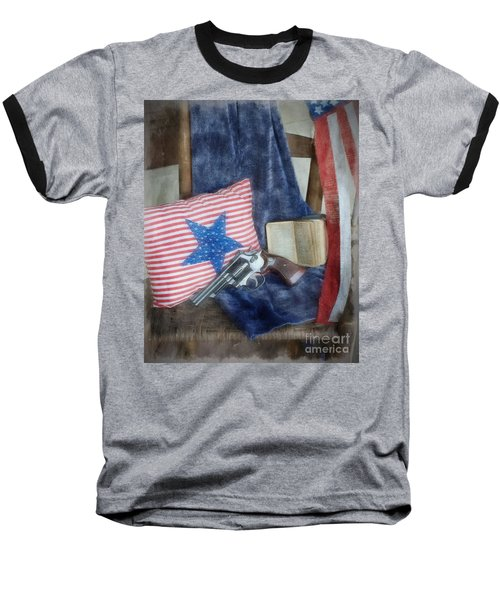 Baseball T-Shirt featuring the photograph God, Guns And Old Glory by Benanne Stiens