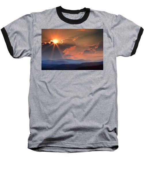 God Rays Over N C  Mountains Baseball T-Shirt