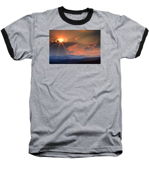 God Rays Over N C  Mountains Baseball T-Shirt