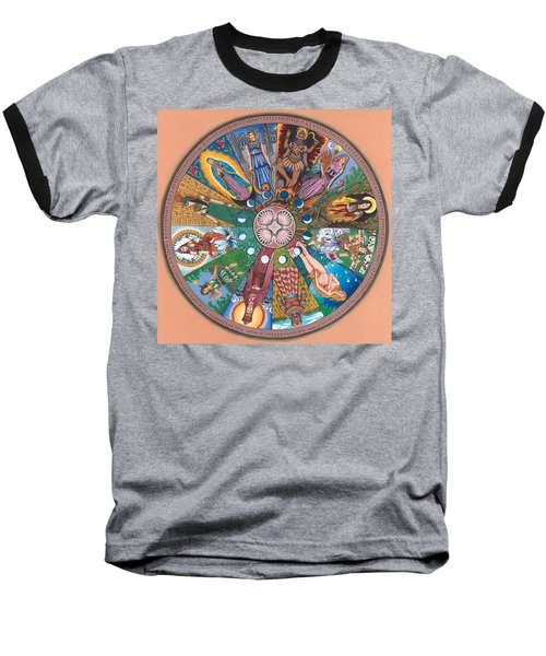 Goddess Wheel Guadalupe Baseball T-Shirt