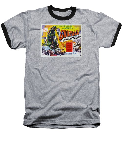 Godzilla King Of The Monsters An Enraged Monster Wipes Out An Entire City Vintage Movie Poster Baseball T-Shirt