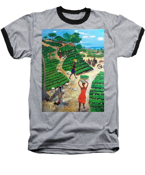 Going To The Marketplace #4 -  Walking Through The Terraces Baseball T-Shirt by Nicole Jean-Louis