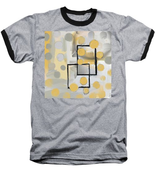 Gold And Grey Abstract Baseball T-Shirt