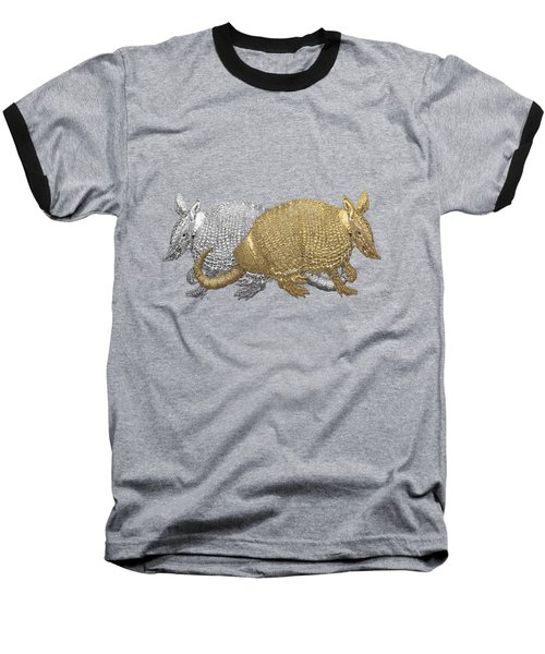 Baseball T-Shirt featuring the digital art Gold And Silver Armadillo On Red Canvas by Serge Averbukh
