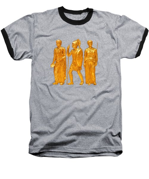 Gold Covered Greek Figures Baseball T-Shirt by Linda Phelps