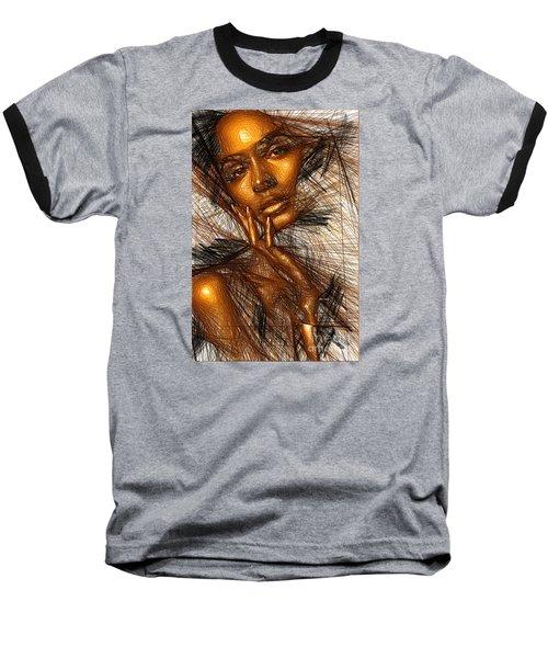Gold Fingers Baseball T-Shirt by Rafael Salazar