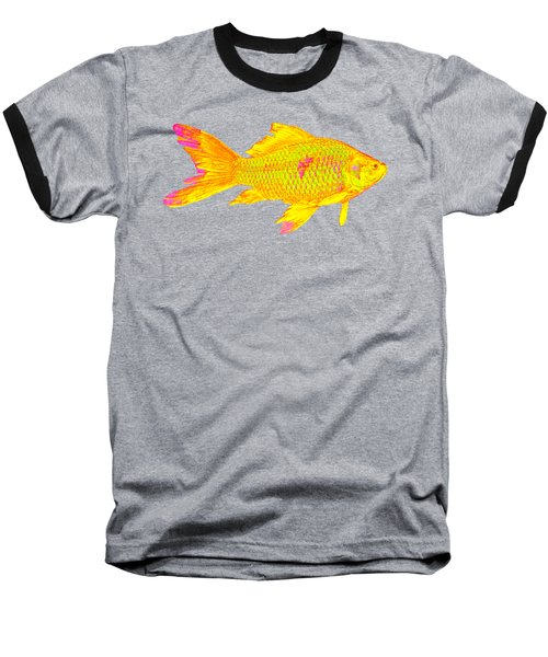 Gold Fish On Striped Background Baseball T-Shirt