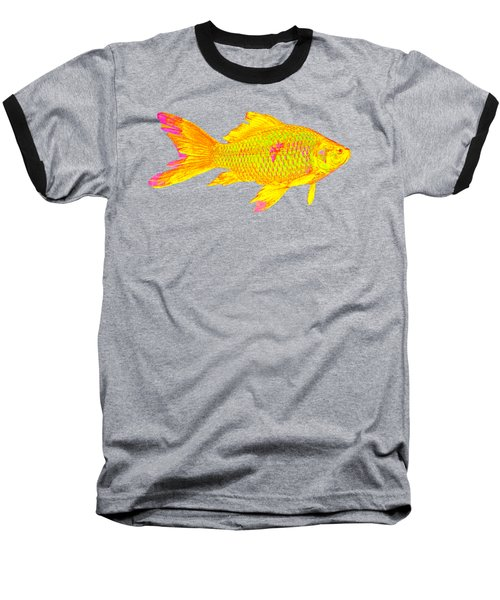 Gold Fish On Striped Background Baseball T-Shirt