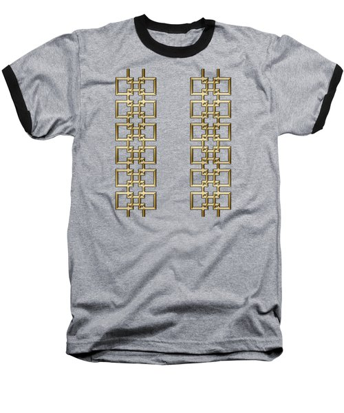 Gold Geo 5 - Chuck Staley Design Baseball T-Shirt by Chuck Staley