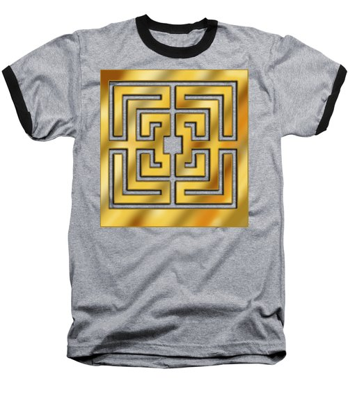Baseball T-Shirt featuring the digital art Gold Geo 3 - Chuck Staley by Chuck Staley