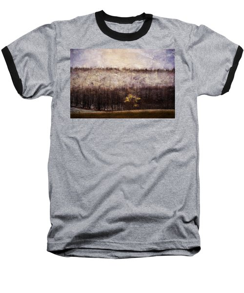 Gold Leafed Tree In Snow Baseball T-Shirt