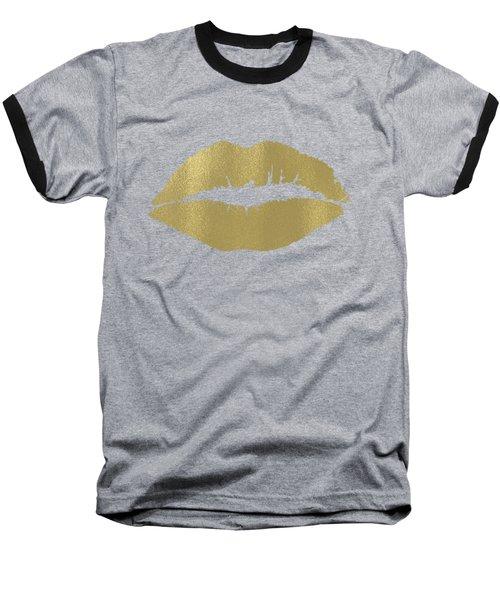 Gold Lips Kiss Baseball T-Shirt
