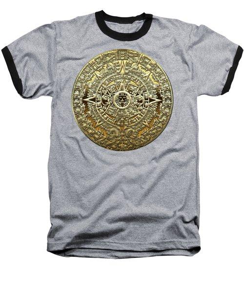 Gold Mayan-aztec Calendar On Brown Leather Baseball T-Shirt
