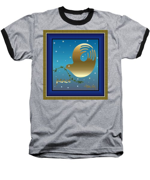 Gold Peace Dove Baseball T-Shirt