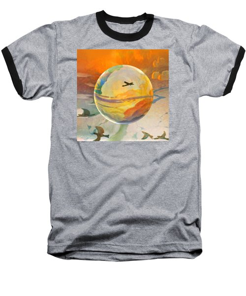 Baseball T-Shirt featuring the painting Golden Age Of Flight by Robin Moline