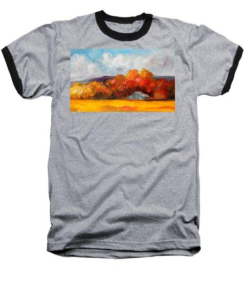 Golden Autumn Blue Country Horse Barn Baseball T-Shirt by Michele Carter