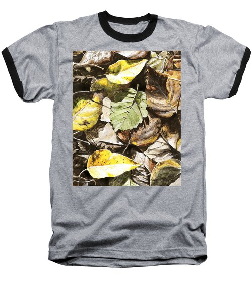 Baseball T-Shirt featuring the painting Golden Autumn - Talkeetna Leaves by Karen Whitworth