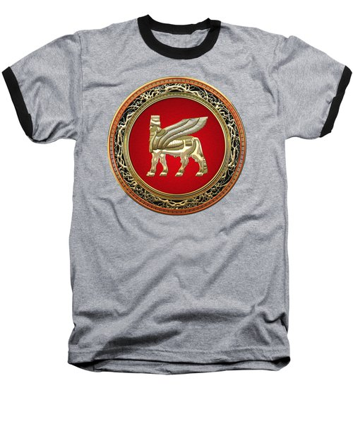 Golden Babylonian Winged Bull  Baseball T-Shirt by Serge Averbukh