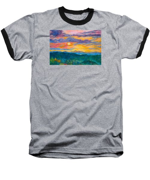 Baseball T-Shirt featuring the painting Golden Blue Ridge Sunset by Kendall Kessler