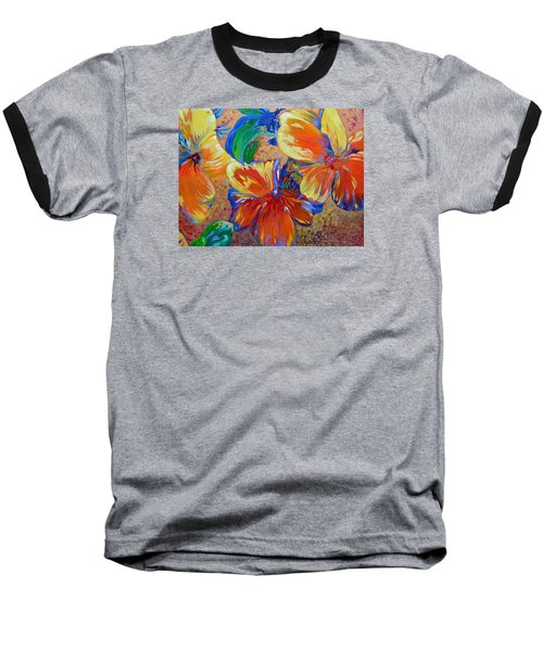 Golden Boiled Flowers Baseball T-Shirt