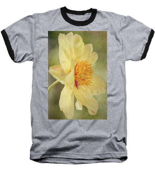 Golden Bowl Tree Peony Bloom - Profile Baseball T-Shirt by Patti Deters