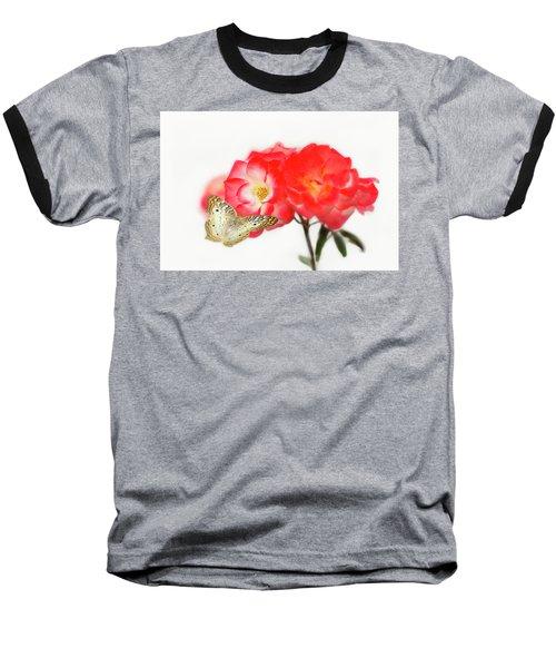 Golden Butterfly On Roses Baseball T-Shirt