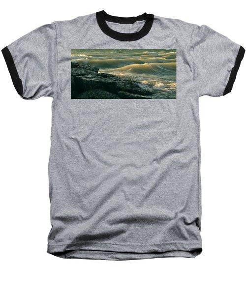 Golden Capped Sunset Waves Of Lake Michigan Baseball T-Shirt