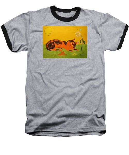Golden Cat Reclining Baseball T-Shirt