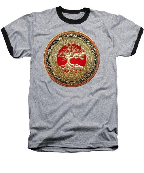 Golden Celtic Tree Of Life  Baseball T-Shirt