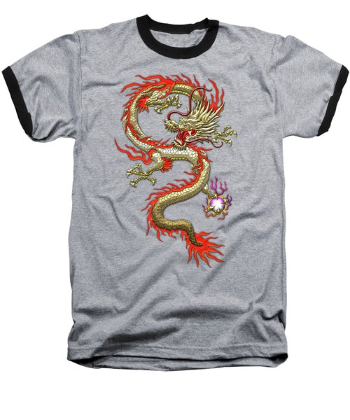 Golden Chinese Dragon Fucanglong On Black Silk Baseball T-Shirt